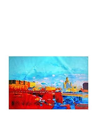 Legendarte Pintura al Óleo sobre Linezo Periferia Di Città 60X90 Cm