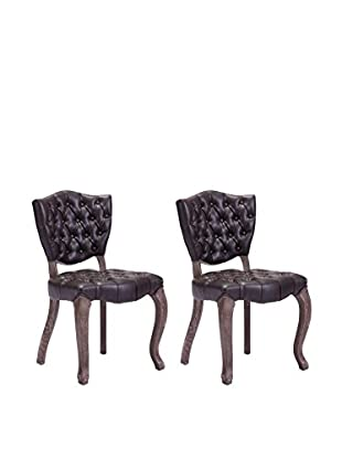 Zuo Modern Leavenworth Set of 2 Industrial Dining Chairs, Brown