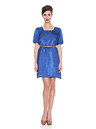 Trakabarraka Vestido Tecla (Vestido Azul Con Flor En Escote)