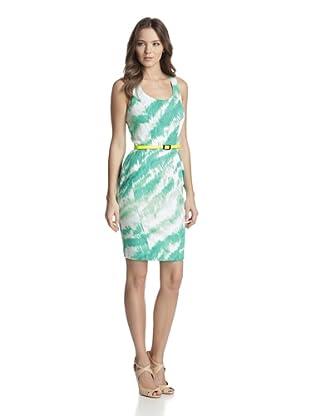 Vince Camuto Women's Belted Dress (Green Feline)