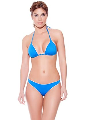 Teleno Bikini Cortina Y Foam, Braga Brasileña Light (Azul)