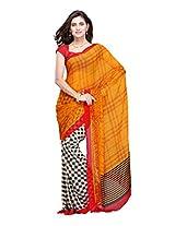 Fabdeal-Orange Colored Chiffon Printed Saree