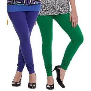 Blue & Green Woman's Cotton Leggings