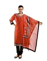 Kaalika Women's Silky Slub Salwar Suit (K-758-Freesize-Rust _Rust _Free Size)