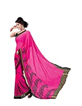Anss Faux Georgette Saree (Anss0062 _Pink)
