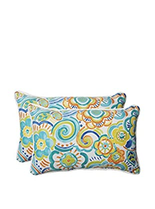 Pillow Perfect Set of 2 Indoor/Outdoor Bronwood Caribbean Lumbar Pillows, Multi