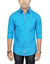 AA' Southbay Men's Aqua Blue Stretch Cotton Long Sleeve Solid Casual Shirt