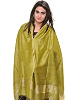 Exotic India Plain Dupatta from Jharkhand with Woven Stripes on Border - Color Leek GreenColor Free Size