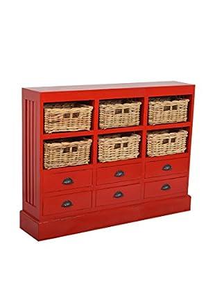 Jeffan Nantucket Storage Cabinet, Red