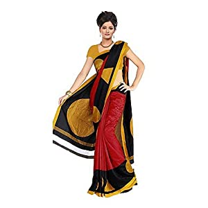 Fabdeal Red And Yellow Printed Saree - HLT106256DRM