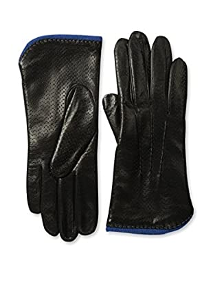 Portolano Women's Textured Leather Gloves with Contrast Lining (Black/Skydiver)