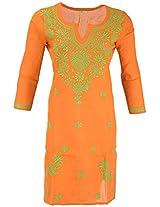 PR Chikans Women's Cotton Kurti (Orange, Large)