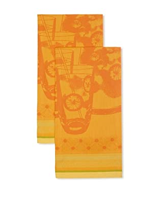 Garnier-Thiebaut Set of 2 Orangeade Sanguine Kitchen Towels