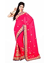 Orbymart Dark Pink Color Georgette Saree - 55192166