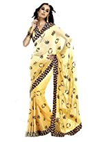 Bharat Plaza Beige And Rani Pink  Saree