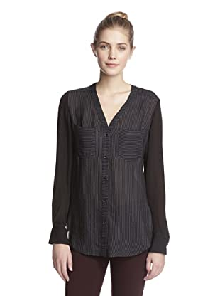 Rachel Roy Women's V-Neck Blouse (Black/Natural White)