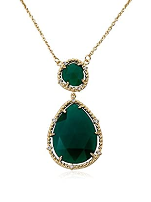 Riccova Faceted Green Agate Double Drop Pendant Necklace with CZs