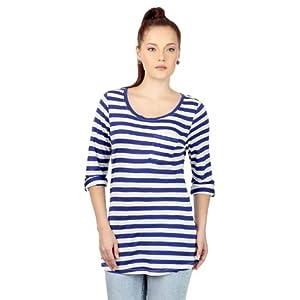 People Striped Women's Tee - Blue & White