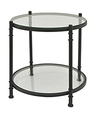 Three Hands Glass-Top Metal Side Table, Black