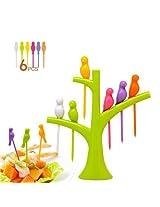 Inovera 6 Color Disposable Birdie Fruit Fork Holder Set Fork organizer (Multi Color)