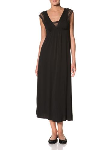 Oscar de la Renta Women's Long Night Gown With Lace Sleeves (Black)