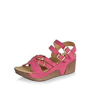 9 To Five Women's Multi Strap Buckled Wedges - Fuchsia