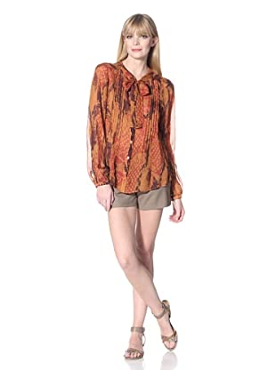 Hale Bob Women's Snake Print Blouse with Neck Tie (Orange)