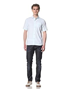 Descendant Of Thieves Men's Seersucker Short Sleeve Woven Shirt (Aqua)