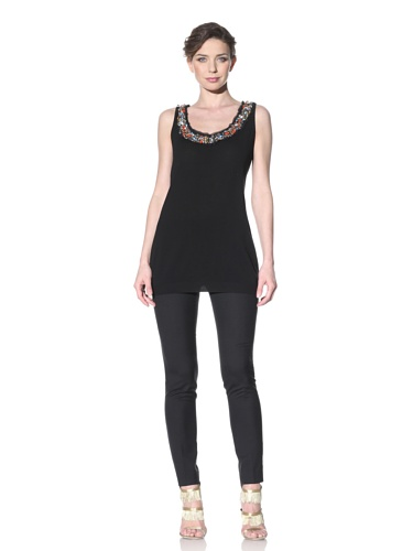 Moschino Cheap and Chic Women's Sleeveless Sweater with Embellished Neckline (Black)