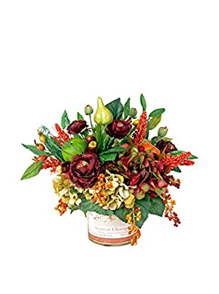 Creative Displays Harvest Ranunculus with Fruits, Berries & Hydrangeas in Vineyard Glass, Rust/Burg/Green