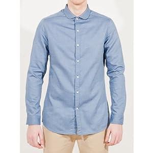 Blue Curved Collar Shirt