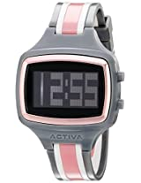 Activa By Invicta Unisex Aa401-008 Black Digital Dial Charcoal Grey And White Polyurethane Watch - Aa401-008
