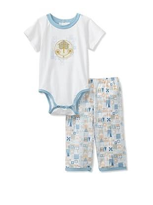 Da Lil Guys Baby Clock Short Sleeve Bodysuit & Pant Set (Blue)