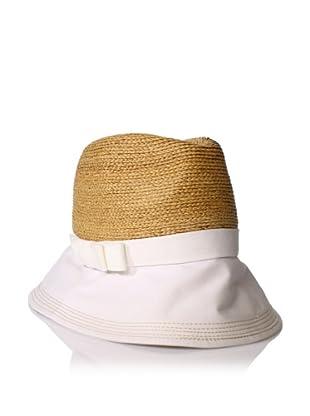 Florabella Women's Zoe Raffia & Twill Hat, White