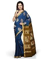 Utsav Fashion Women's Blue and Olive Green Art Silk Saree with Blouse