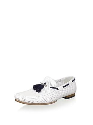 Alessandro Dell Acqua Men's Jeremy Perforated Tassel Loafer (White/Blue)
