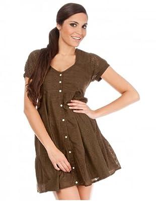 Cortefiel Kleid mit Lochmuster (Khaki)