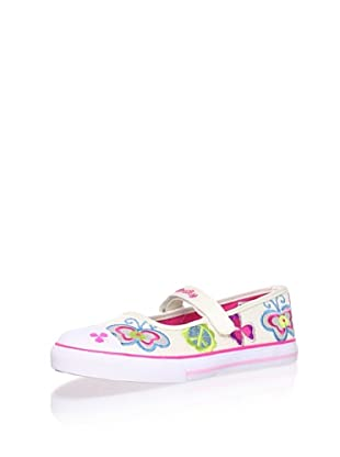 Pablosky Kid's Embroidered Mary Jane (White)