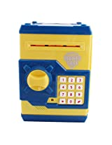 Money Safe Kids Piggy Savings Bank with Electronic Lock (Yellow & Blue)