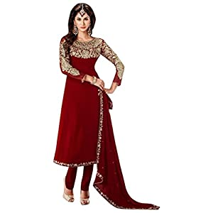 Red Georgette, Crepe & Chiffon with Zari Embroidery, Diamond Hand Work, Lace Border Work Unstitched Anarkali Salwar Kameez Suit