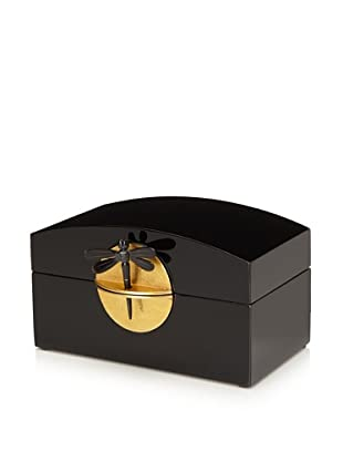 Mili Designs Lacquer Organization Box with Gold-Tone Lock (Black/Gold)