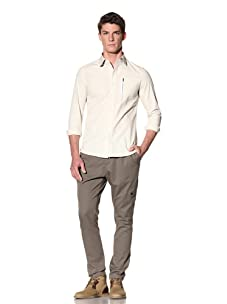 D by D Men's Classic Shirt with Pocket Detail (Ivory)