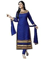 Vibes Women Georgette Salwar Suit Dress Material (V201-3507 _Blue _Free Size)