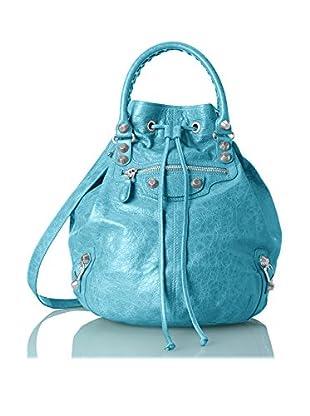Balenciaga Women's Bleu Paon Pompon Handbag, Blue