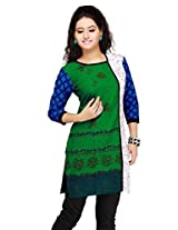 Alluring Blue, Green & Off White Cotton Ready Made Kurti