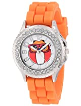 Frenzy Kids' FR796 Orange Rubber Band Owl Watch