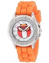 Frenzy Kids' FR796 Orange Rubber Band Owl Watch