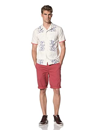 Under 2 Flags Men's Short Sleeve Printed Hunting Shirt (Antique White)