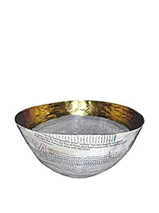 Asian Loft Swaziland Handcrafted Paper Mache Bowl with Gold Band, White/Gold