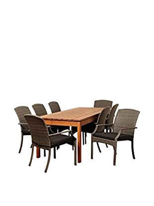 Amazonia Newton 9-Piece Eucalyptus Wicker Rectangular Dining Set with Cushions, Brown/Grey